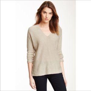 Vince Double V Neck 100% Linen Sweater Parchment